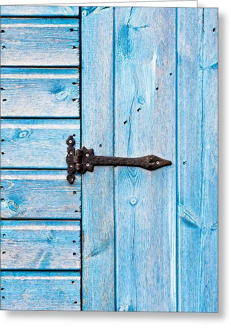 Painted Garden Gate Greeting Cards - Blue door Greeting Card by Tom Gowanlock
