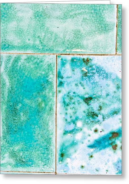 Blue Tiles Greeting Card by Tom Gowanlock