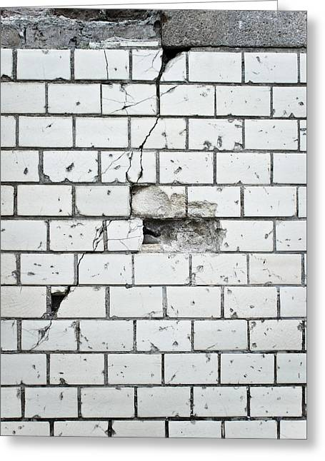 Conditions Greeting Cards - Damaged wall Greeting Card by Tom Gowanlock