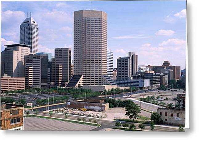 Downtown Indiana Greeting Cards - High Angle View Of A City Greeting Card by Panoramic Images
