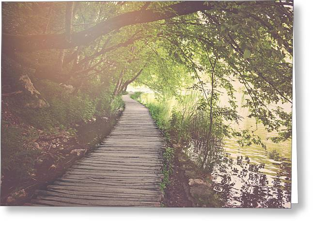 Retro Hiking Path With Sunlight With Instagram Style Vintage Fil Greeting Card by Brandon Bourdages