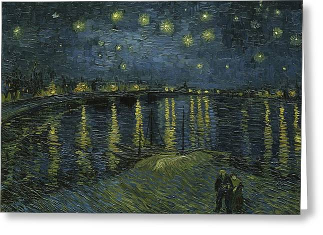 Provence Village Greeting Cards - Starry Night  Greeting Card by Vincent van Gogh