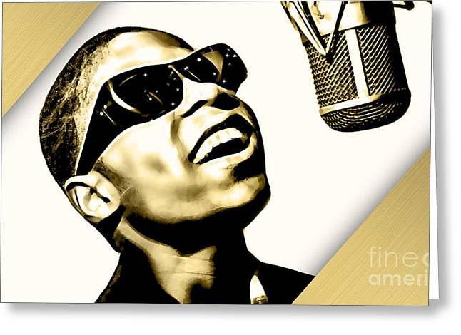 Singer Greeting Cards - Stevie Wonder Collection Greeting Card by Marvin Blaine