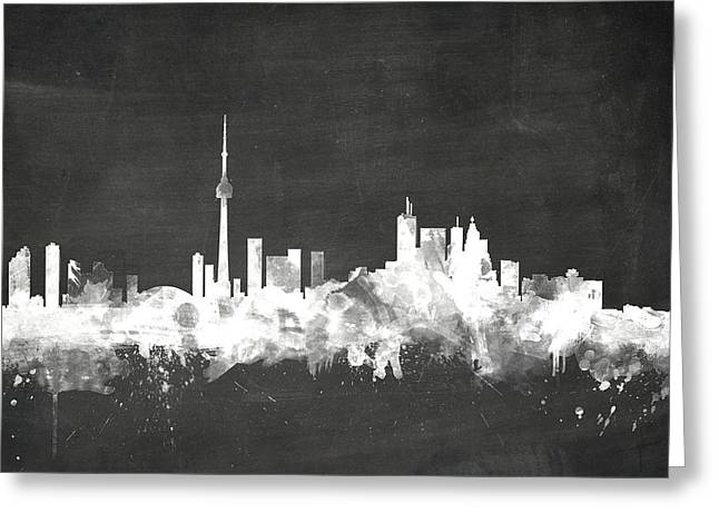 Blackboard Greeting Cards - Toronto Canada Skyline Greeting Card by Michael Tompsett