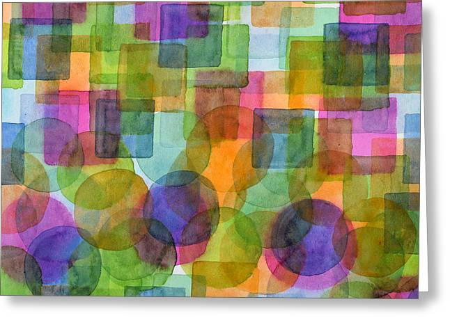 Transparency Geometric Greeting Cards - Befriended Squares and Bubbles Greeting Card by Heidi Capitaine