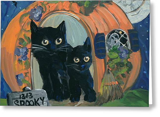 1313 Spooky Lane Greeting Card by Sylvia Pimental