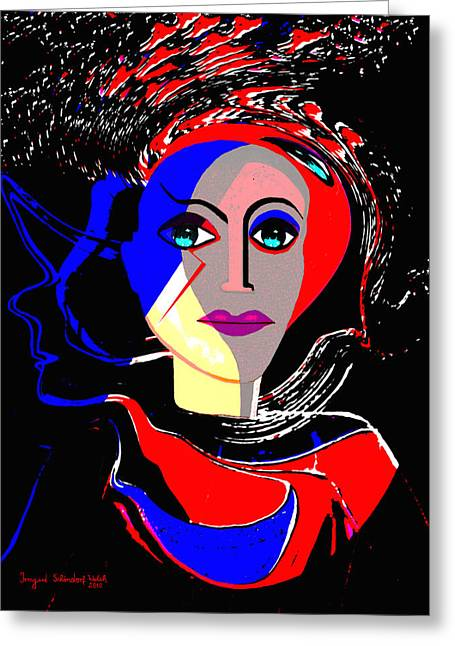 Flashy Greeting Cards - 135 - Flashy woman poster 1 ...    Greeting Card by Irmgard Schoendorf Welch