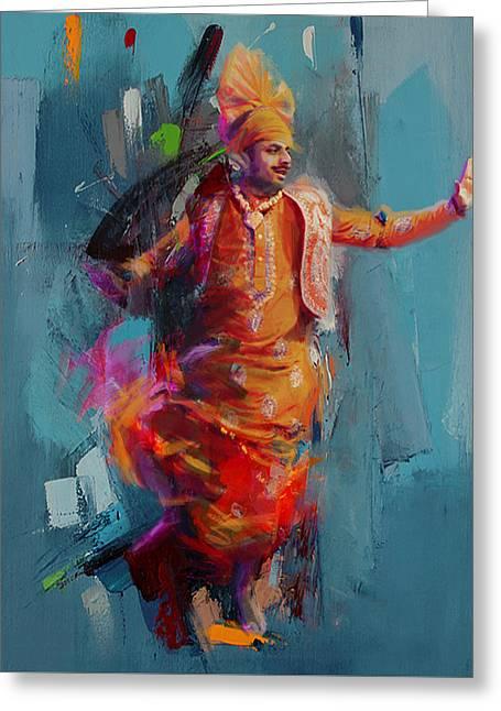 East Asian Culture Greeting Cards - 13pakistan folk Punjab B Greeting Card by Mahnoor Shah