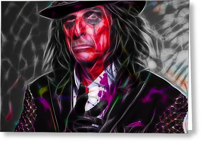 Pop Art Greeting Cards - Alice Cooper Collection Greeting Card by Marvin Blaine