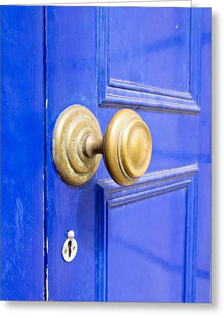 Wooden Building Greeting Cards - Blue door Greeting Card by Tom Gowanlock