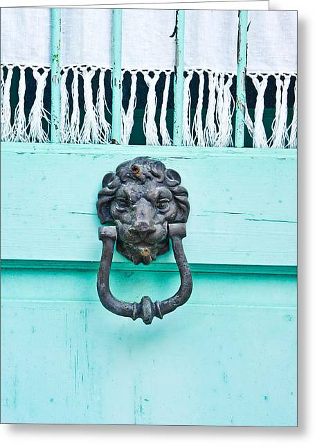 Gold Cloth Greeting Cards - Door knocker Greeting Card by Tom Gowanlock