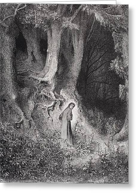 Dore Greeting Cards - Engraving By Gustave Dore 1832-1883 Greeting Card by Vintage Design Pics