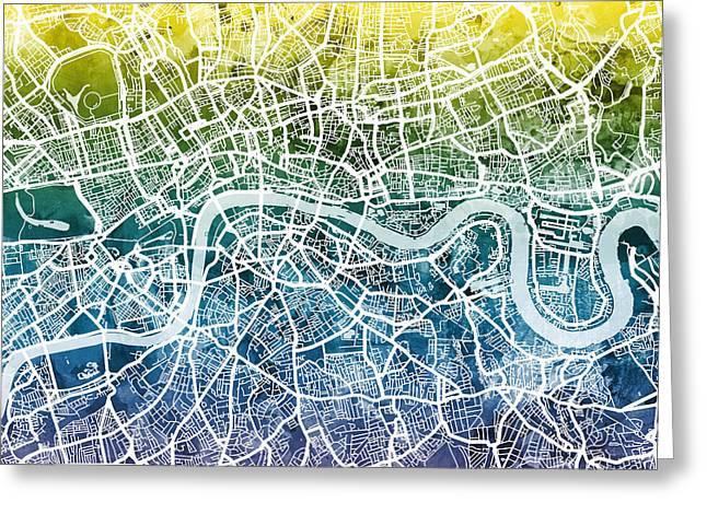Abstract Map Greeting Cards - London England Street Map Greeting Card by Michael Tompsett