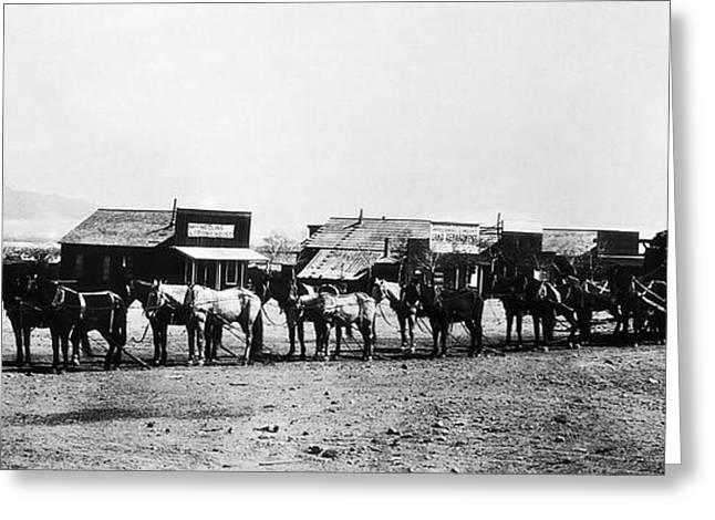 Horse And Wagon Greeting Cards - 14 MULE TEAM ORE WAGON - CALIFORNIA DESERT - c. 1905 Greeting Card by Daniel Hagerman