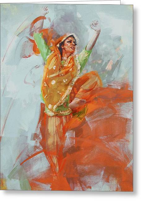 East Asian Culture Greeting Cards - 14 pakistan folk Punjab B Greeting Card by Mahnoor Shah