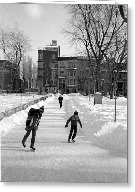 Ice-skating Greeting Cards - People Greeting Card by Pierre Roussel