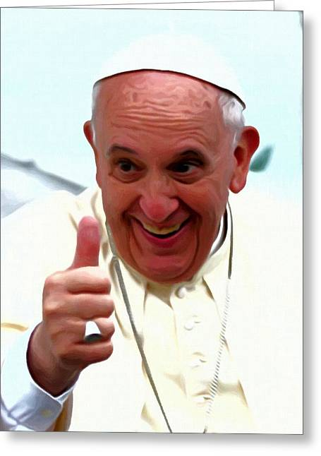 Resigned Greeting Cards - Pope Francis Portrait Greeting Card by Victor Gladkiy
