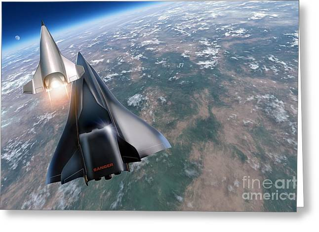 Aircraft Artwork Greeting Cards - Saenger Horus Spaceplane, Artwork Greeting Card by Detlev van Ravenswaay