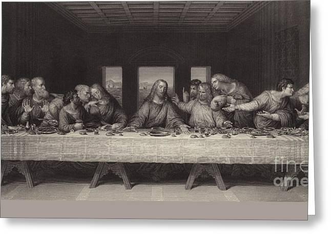 Last Supper Greeting Cards - The Last Supper  Greeting Card by Leonardo Da Vinci