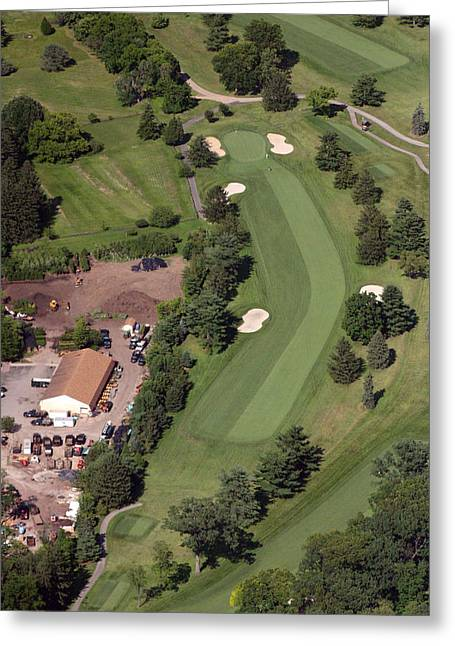 Golf Aerials Greeting Cards - 14th Hole Sunnybrook Golf Club Greeting Card by Duncan Pearson