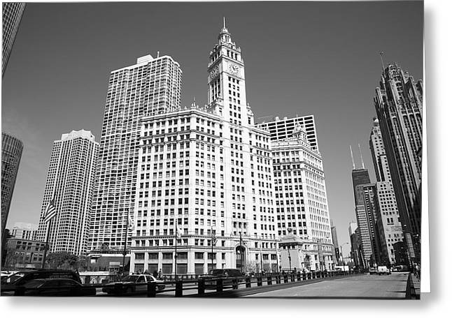 Clocktower Greeting Cards - Chicago Skyline Greeting Card by Frank Romeo