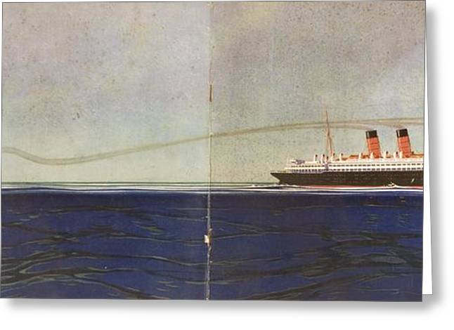 Cunard Line Promotional Brochure For Greeting Card by Vintage Design Pics