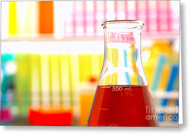 Experiment Greeting Cards - Equipment in Science Research Lab Greeting Card by Olivier Le Queinec