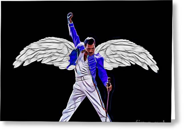 Cool Greeting Cards - Freddie Mercury Queen Collection Greeting Card by Marvin Blaine