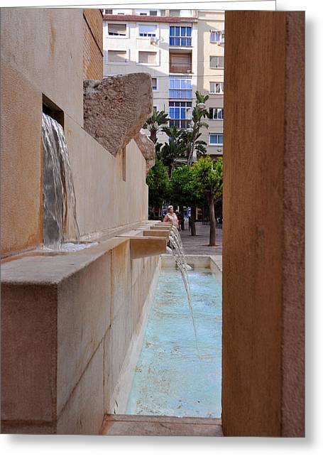 Streetlight Greeting Cards - MALAGA City street view Spain Greeting Card by Eduardo Huelin