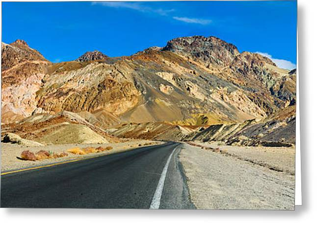 Scenic Drive Greeting Cards - Road Passing Through A Landscape Greeting Card by Panoramic Images