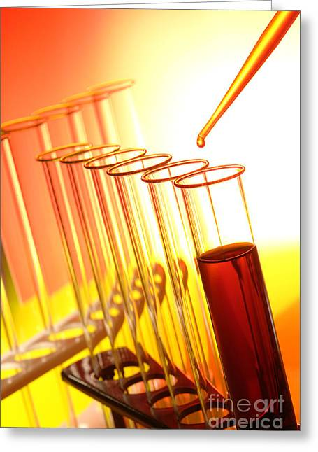 Red Blood Greeting Cards - Scientific Experiment in Science Research Lab Greeting Card by Olivier Le Queinec