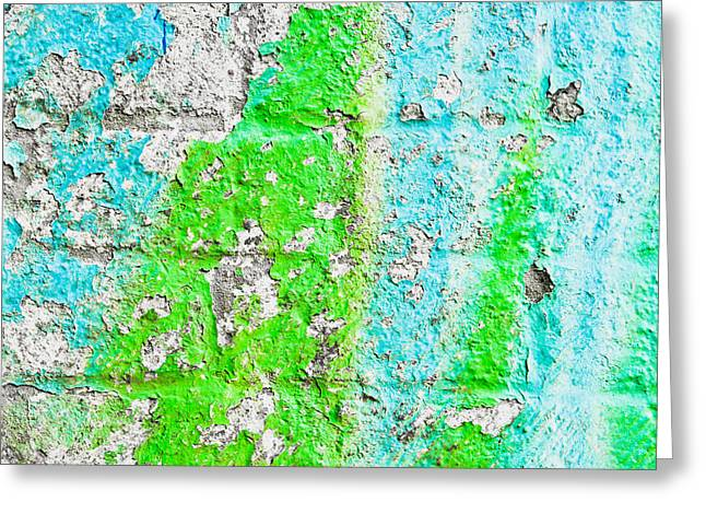 Green And Yellow Abstract Greeting Cards - Weathered wall Greeting Card by Tom Gowanlock
