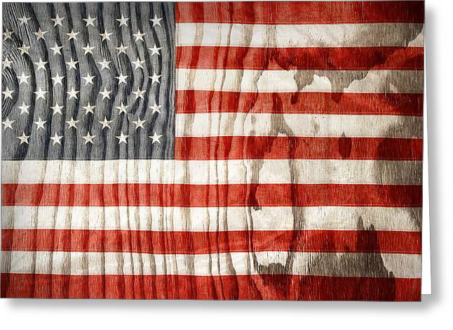 Stripe.paint Greeting Cards - American flag Greeting Card by Les Cunliffe