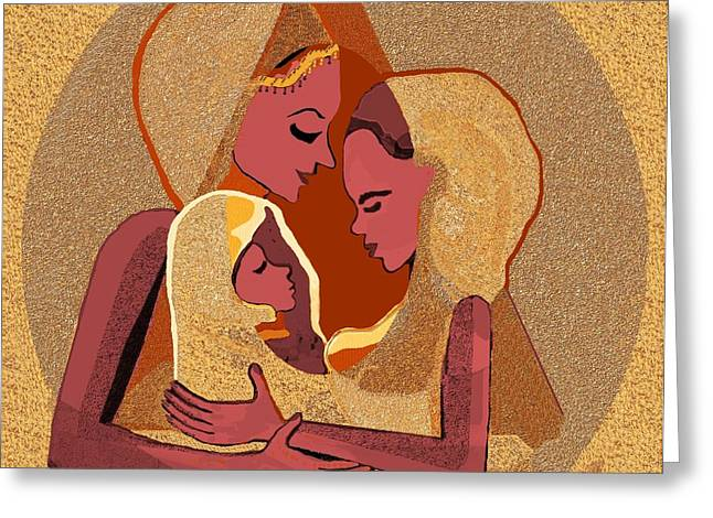 Pastell Greeting Cards - 158 - Women with child 4 Greeting Card by Irmgard Schoendorf Welch