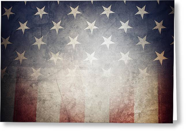 American Country Art Greeting Cards - American flag Greeting Card by Les Cunliffe