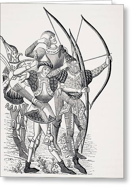 Loose Drawings Greeting Cards - 15th Century French Long Bowmen In Greeting Card by Ken Welsh