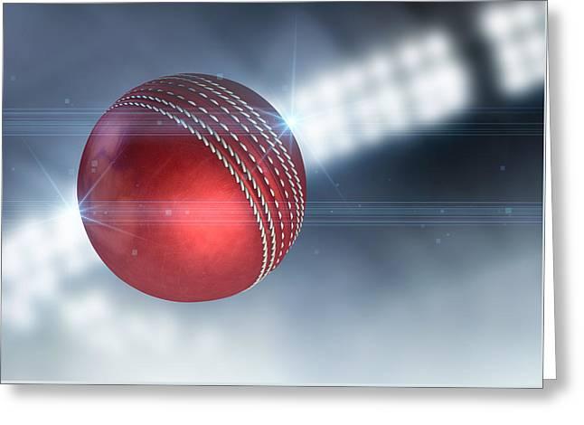 Ball Flying Through The Air Greeting Card by Allan Swart