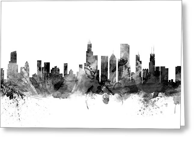 Chicago Digital Greeting Cards - Chicago Illinois Skyline Greeting Card by Michael Tompsett