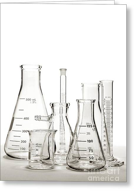 Chemicals Greeting Cards - Laboratory Equipment in Science Research Lab Greeting Card by Olivier Le Queinec