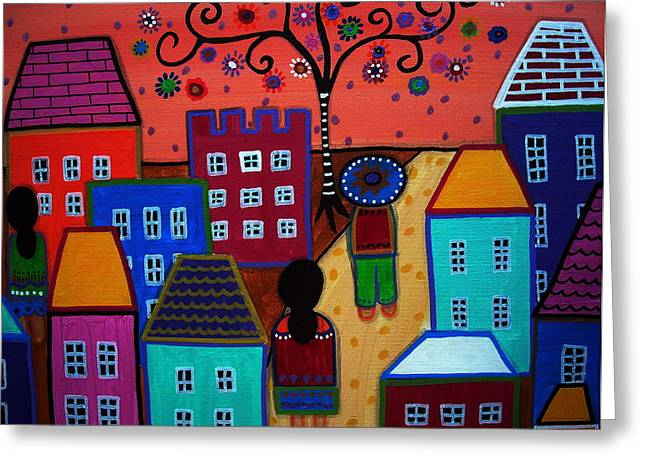 Mexican Town Greeting Card by Pristine Cartera Turkus