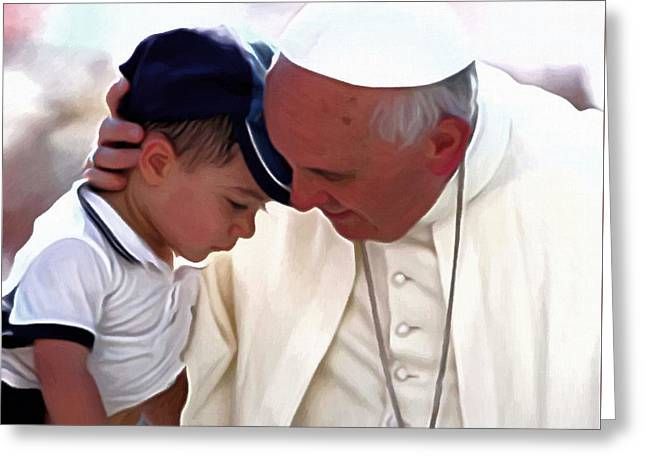 Official Portrait Greeting Cards - Pope Francis Portrait Greeting Card by Victor Gladkiy