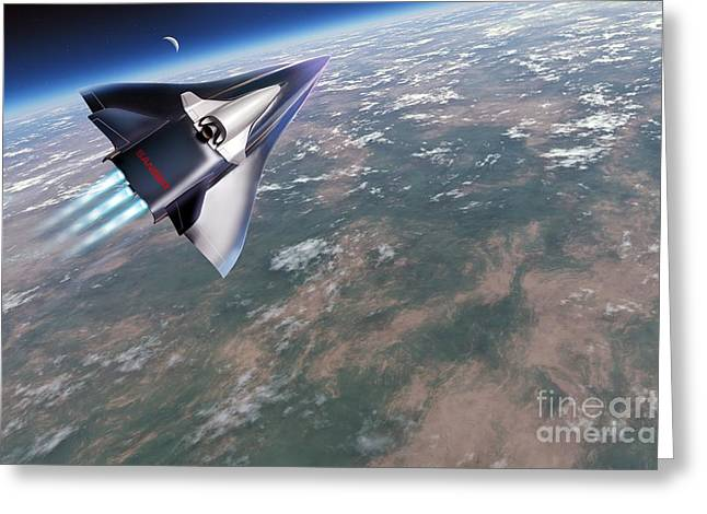 Horus Greeting Cards - Saenger-horus Spaceplane, Artwork Greeting Card by Detlev van Ravenswaay
