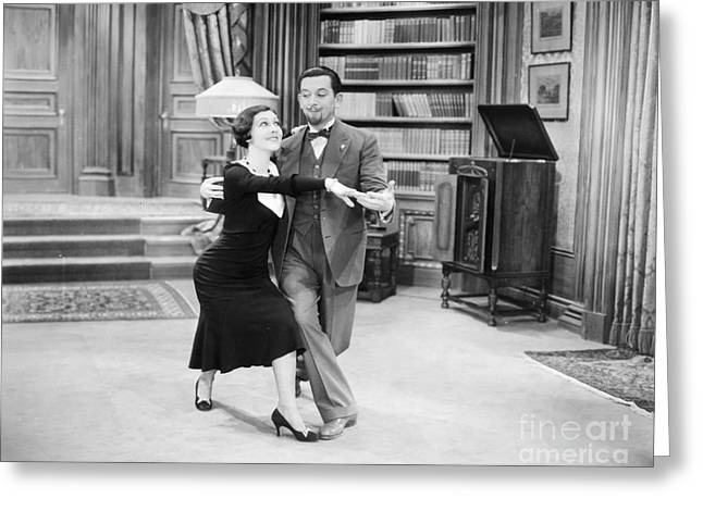 Interior Scene Greeting Cards - Silent Film Still: Dancing Greeting Card by Granger