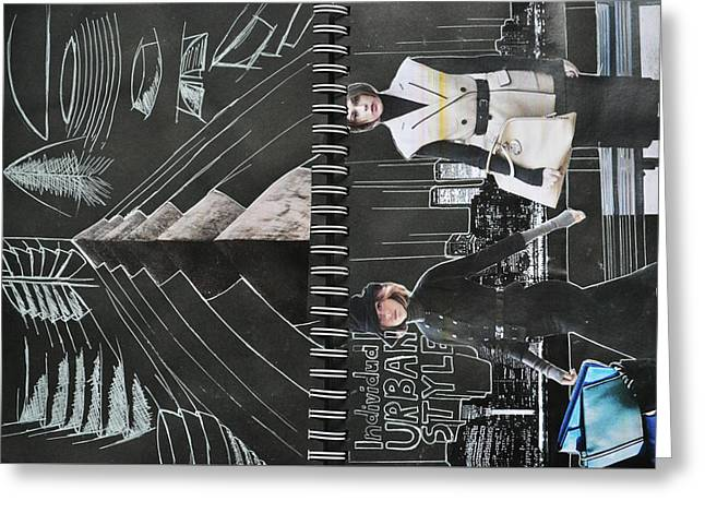 Sketchbook Greeting Cards - Urban Greeting Card by Adelina  Patriche