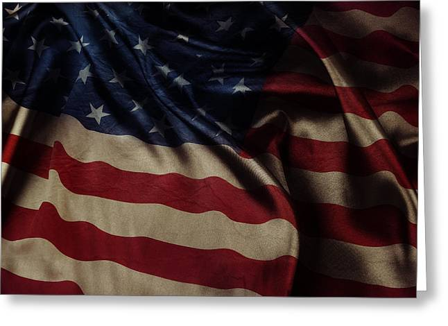 American Grunge Greeting Cards - American flag  Greeting Card by Les Cunliffe