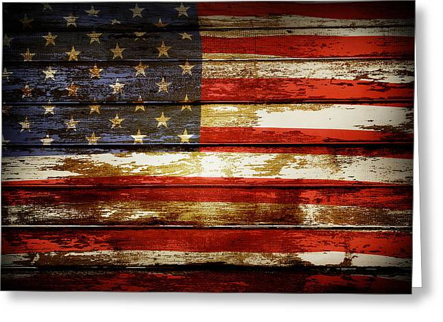 Flag Digital Greeting Cards - American flag Greeting Card by Les Cunliffe