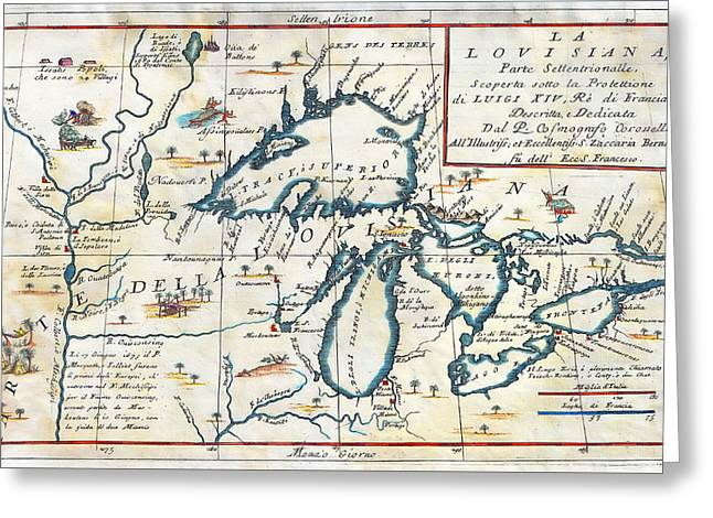 Motel Art Greeting Cards - 1695 Great Lakes Map Greeting Card by Stephen Stookey