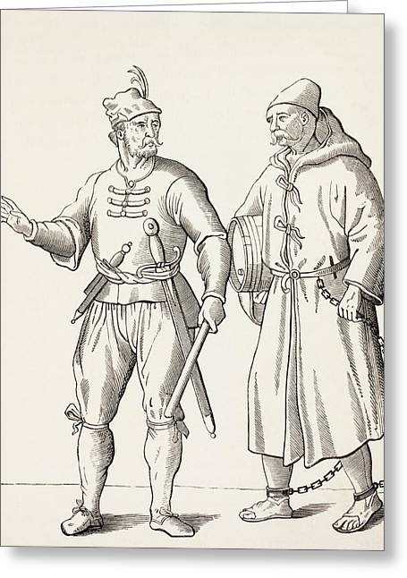 Galley Slaves Drawings Greeting Cards - 16th Century Galley Solder With A Greeting Card by Vintage Design Pics