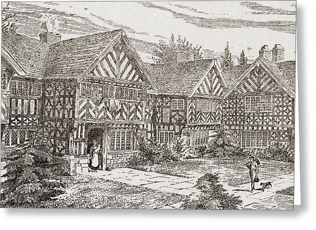 Stone House Drawings Greeting Cards - 16th Century Kenyon Peel Hall Greeting Card by Ken Welsh