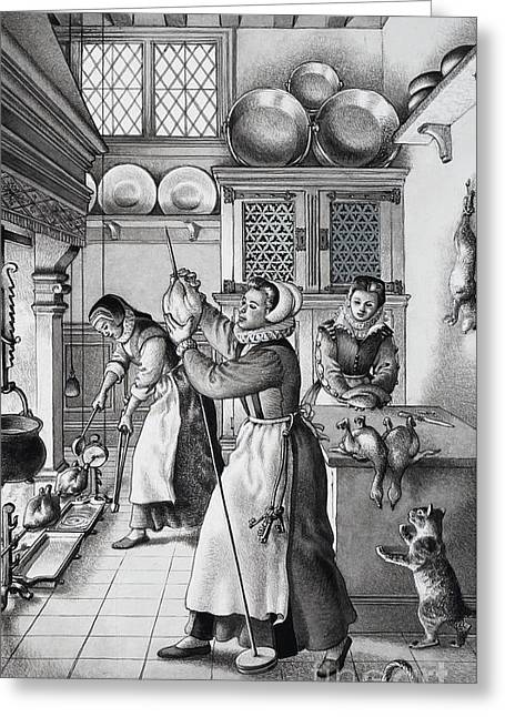 16th Century Kitchen Greeting Card by Pat Nicolle
